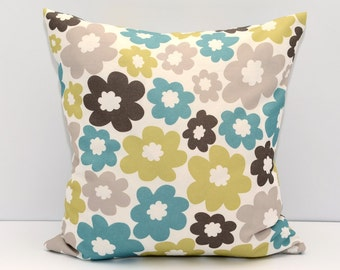 Floral beautiful pillow cover Decorator Pillow Cover, Housewares, Home Decor, beige, Golden, blue, Indoor, Outdoor, Cushion