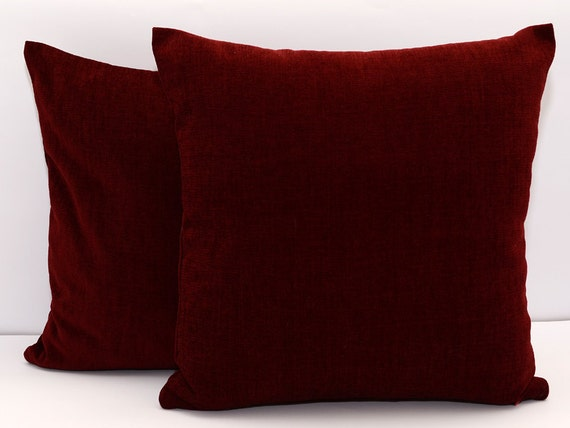 How To Measure Throw Pillow Covers : 18x18 size Maroon pillow cover accent pillow throw pillow