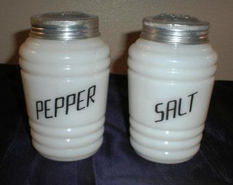 Early Hazel Atlas Milk Glass Kitchen Jars with Lids - Salt Pepper