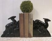 vintage Deer Bookends. Black Ceramic Art Deco Era Objet d'Art, Statues, Sculptures. Leaping Landing Gazelles.