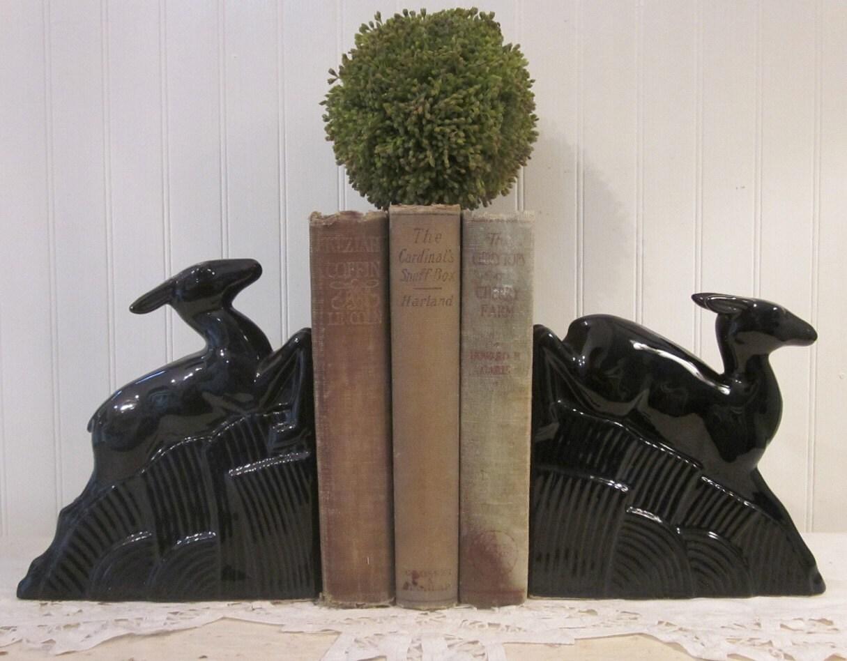 vintage deer bookends black ceramic deco era objet