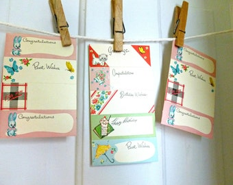 Vintage Birthday Congratulations Best Wishes Cardstock Gift Tags 1950s