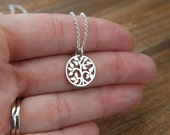 Small tree of life necklace in sterling silver, family tree, silver tree charm, sterling silver tree necklace