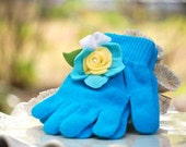 Turquoise Gloves Lime Green Leaves Yellow Aqua White Flower Pearl. Warm Knitted, Bright Colorful Birthday, Toddler Preteen Girly Hands Gift