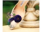 Purple & Green Feathers Shoe Clips. Statement Wedding, Handmade Couture Bride Bridesmaid. Tan Teal Orange Tangerine, Elegant Autumn Nuptials