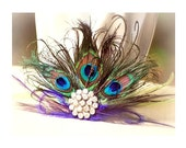 Peacock Fan Fascinator Purple Lime Green & Rhinestone. Couture Bride Bridal Bridesmaid, Birthday Coque Feather, Silver Teal Metallic Fashion
