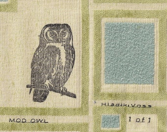 Mod Owl Linocut-Original Monoprint on Fabric- Hip Modern Cool- 8 x 10 inch