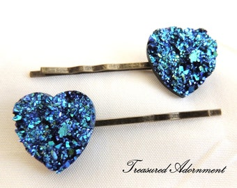 Metallic Blue Druzy Heart Bobby pins, Vintage Style Hair pins set of 2, Wedding, Something Blue Hair Accessories, Thank you gift, Prom Hair