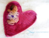 Crochet Heart Mat for Newborn Photography Photo Prop