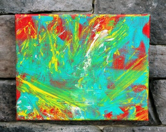 Wet Paint - Original Red Abstract Painting - Minnow the Painting Pony