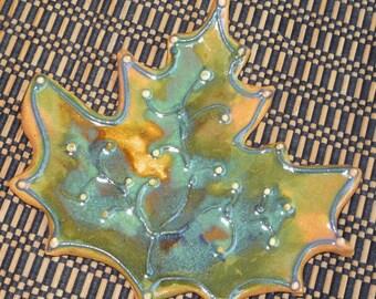 Stoneware Autumn Maple Leaf Spoon Rest Teabag Rest
