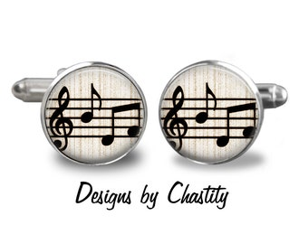 Music Notes Cufflinks - Vintage Sheet Musical Notes Key Cuff links
