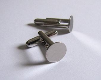 Cuff Links Blanks (6 pair) 10mm Glue Pad Silver Cufflinks 12 pieces
