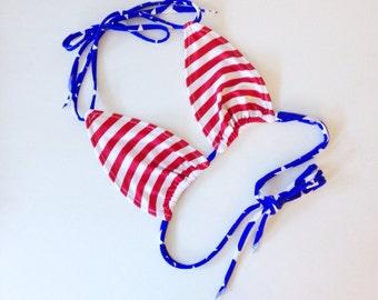 USA stripes bikini top