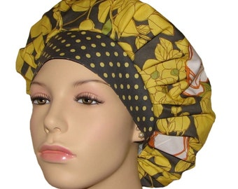 Scrub Hats - Lulu Floral In Gray And Citron