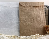 25 Embossed Paper Bags Kraft/White Paper French Vintage Romantic, Wedding Favor Bags, Gift Wrap, Party Supplies, Party Favors, Gift Bags