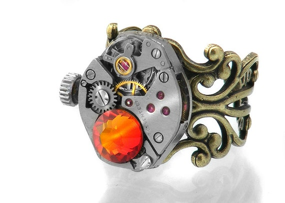 Steampunk Ring, Fire Opal Crystal & Vintage Watch Mechanism - Adjustable ring