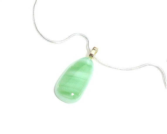 Green Teardrop Pendant - Fused Glass Jewelry