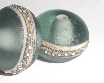 Silvered Gray Mist One pair Etched Handmade Lampwork Glass Beads Ice silver beach sea glass sterling summer Beatlebaby
