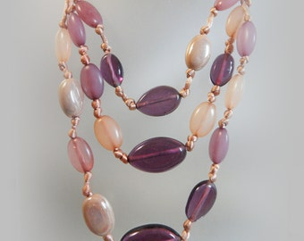 Vintage Glass Bead Necklace. Purple Lavender Fuchsia Glass Beads. Seed Beads. Satin Cord.