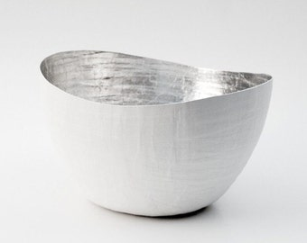Silver Bowl / Paper Vessel / White and Silver / Paper Mache / Metallic Vase / Silver Lining / Decorative Object / Paper Mache Bowl
