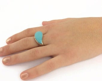 Modernist sterling silver turquoise swoosh ring size 6 marked 925