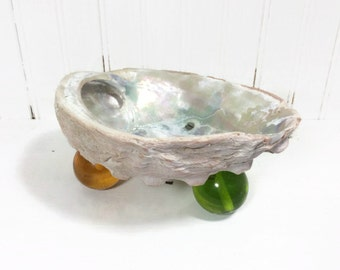 Vintage abalone shell bowl or ashtray with resin ball feet