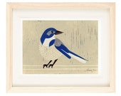 WESTERN SCRUBJAY Linocut Reproduction Art Print: 4 x 6, 5 x 7