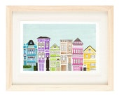 VICTORIAN HOUSES - 4 x 6 or 5 x 7 Colorful Illustration Art Print, Bright, Pink, Purple, Wall Decor