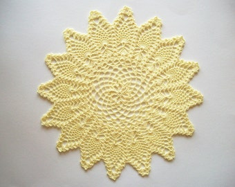 Crochet Pineapple Doily Yellow Lace Table Topper Heirloom Quality