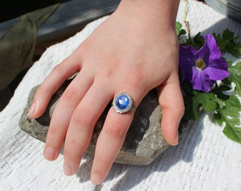 Vintage Ring, Sapphire Ring, Adjustable Ring, Sterling Silver ring, Victorian Ring