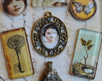 GLASS PENDANT ACCENTS vintage altered art cabochons round rectangle doll mixed media collage necklace assemblage set of seven