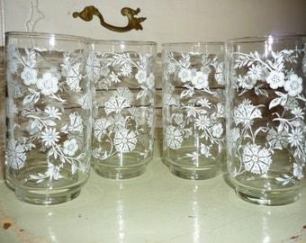 Vintage Set of 4 Floral Glasses