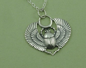 Egyptian Scarab Necklace - sterling silver scarab beetle pendant - egyptian jewelry - cleopatra necklace