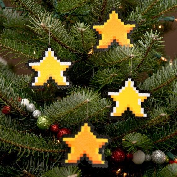 8 Bit Pixel Art Christmas Ornament Stars (Set of 4)