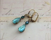 Aqua Blue Earrings, Pear Shaped Glass Earrings Estate Style Drop Earrings