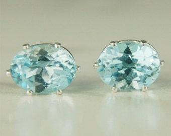 Sky Blue Topaz Stud Earrings Sterling Silver 8x6mm Oval 2.95ctw