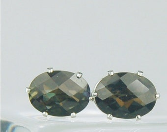 Black Mystic Topaz Sterling Silver Stud Earrings 8x6mm Oval 3.15ctw