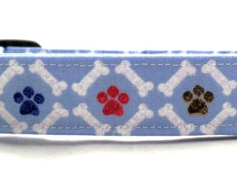 Puppy Paw Paradise with White Bones on Blue Dog Collar Red Brown