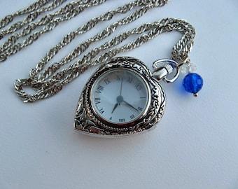 Sale - Victorian Heart Pocket Watch Necklace - Locket Pendant - Keepsake Jewelry - Glass View Window - Swarovski Crystal Charm