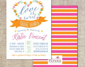 """Baby Shower Invitation-- """"Love is Sweet"""" theme with cupcakes and candy"""