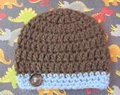 Hand Crocheted  Newborn Baby Boy Beanie Hat with Button