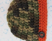 Green Camouflage Newborn Baby Beanie Cap With Orange Band And Button - Hand Crocheted