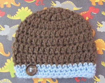 Hand Crocheted  Newborn Baby Boy Beanie Hat with Button