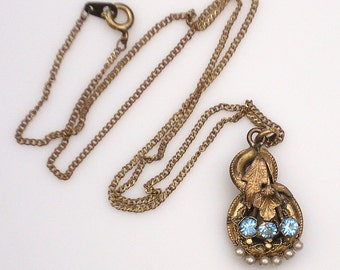 Vintage Victorian Revival Gold Necklace with Pearls and Aqua Stones