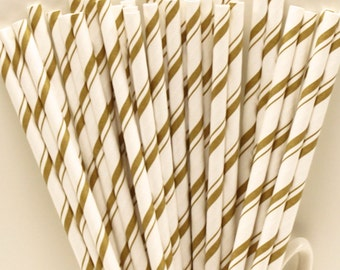 Paper Straws, 25 Gold Pencil Stripe Paper Straws, Gold Paper Straws,  Engagement Party, Wedding Straws, Anniversary, Birthday, Christening