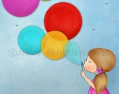 Girls room wall art, girl blowing bubbles, kids art, nursery art, kids room picture, illustration, drawing, giclee print for girls bedroom