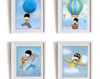 Boys room art, hot air balloon, boys room decor, kids room, boys nursery posters, art, Boys room wall art, Art prints, Children room poster