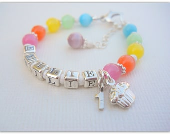 MORE COLORS Birthday Bracelet, First Birthday Jewelry Bracelet, Personalized Name Bracelet