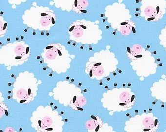 Timeless Treasures Novelty Fabric Cute Tossed Farm Sheep on Sky Blue